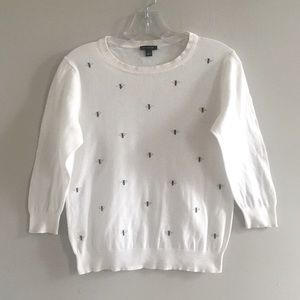 Ann Taylor White Bumble Bee Crew Neck Sweater